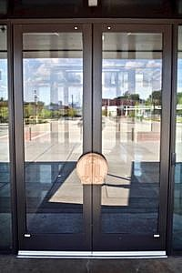 Glass Doors with a Decorative Handle