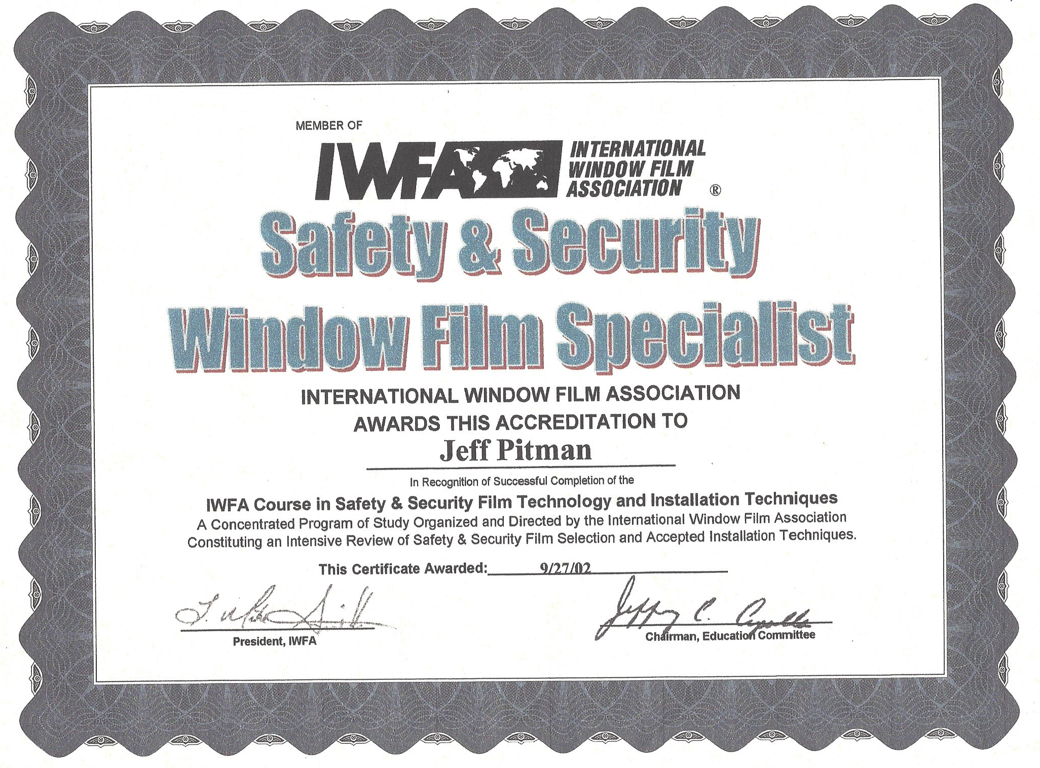Safety & Security Window Film Specialist Award